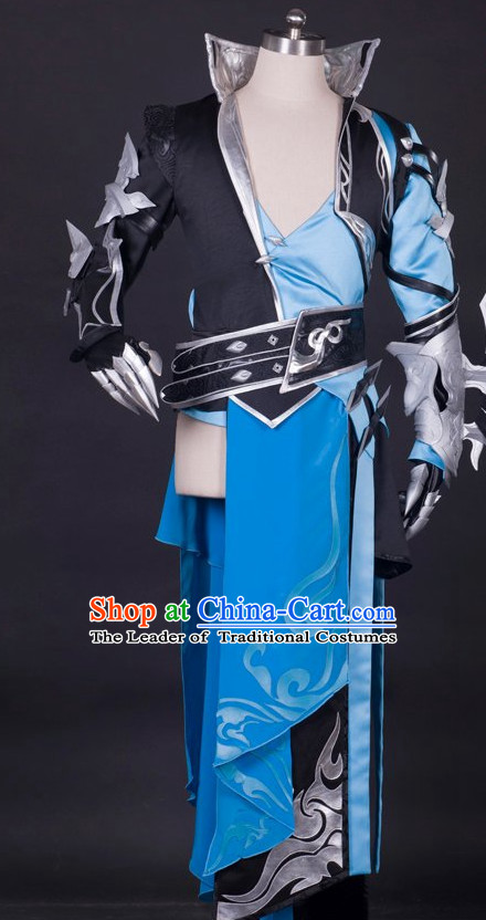 Ancient Chinese Knight Fighter Cosplay Costumes Complete Set for Men