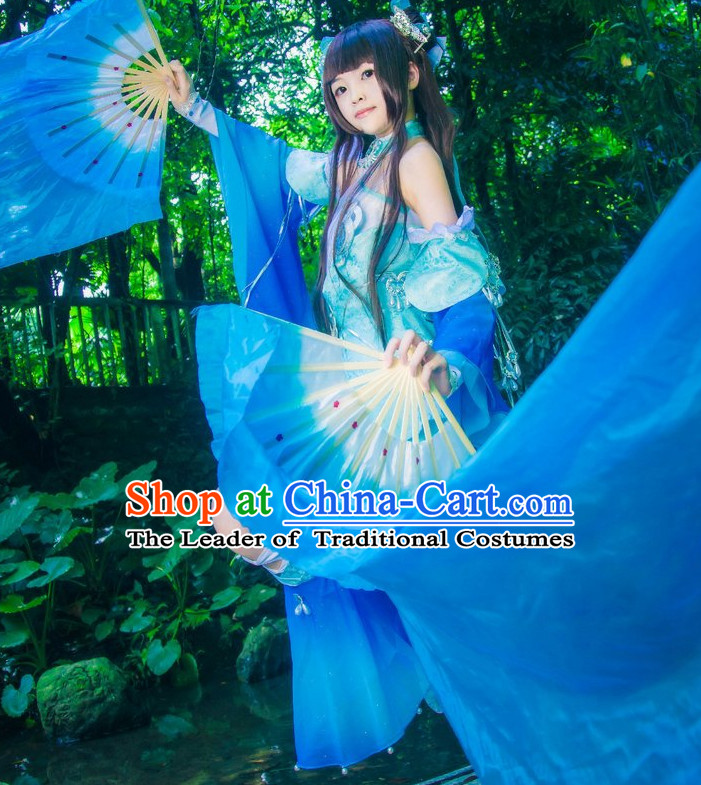 Ancient Chinese Knight Princess Cosplay Costumes and Hair Accessories Complete Set for Women