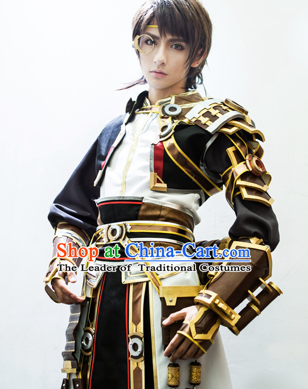 Ancient Chinese Prince Cosplay Costumes and Hair Accessories Complete Set for Men