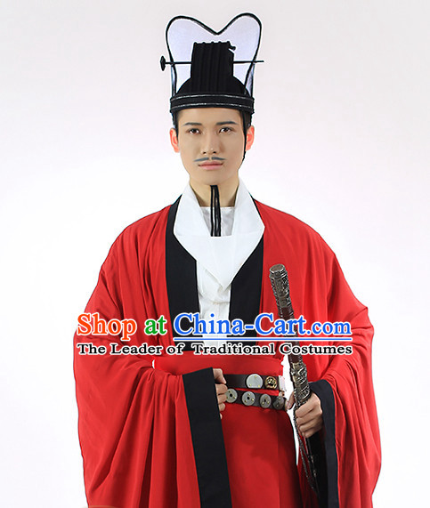 Ancient Chinese Hanfu Dress and Hat Complete Set for Men