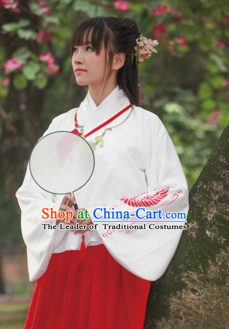 Chinese Ming Dynasty Dress Clothing and Hair Jewelry Complete Set for Women and Girls