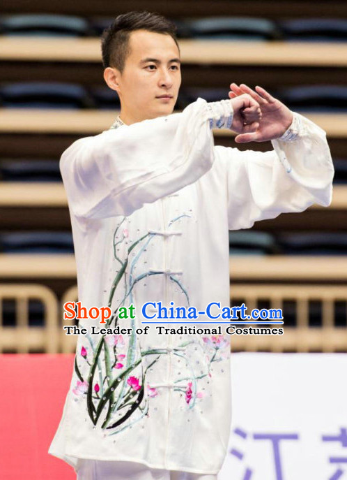 White Orchid Tai Ch Swords Taiji Tai Ji Sword Martial Arts Supplies Chi Gong Qi Gong Kung Fu Kungfu Uniform Clothing Costume Suits Uniforms for Men and Boys