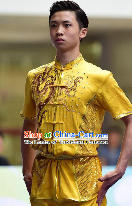 Top Grade Kung Fu Wushu Long Fist Competition Suits Changquan Tourament Qigong Kung Fu Training Clothes Shaolin Outfit Martial Arts Uniform for Men Women Girls Boys Kids Adults