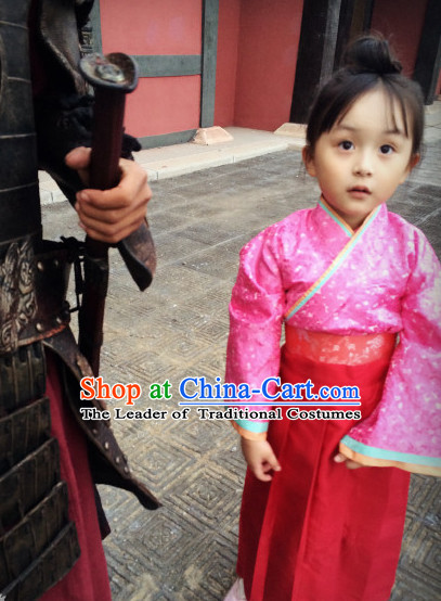Chinese Costume Ancient China Dress Classic Garment Suits Han Dynasty Clothes Clothing Complete Set for Kids