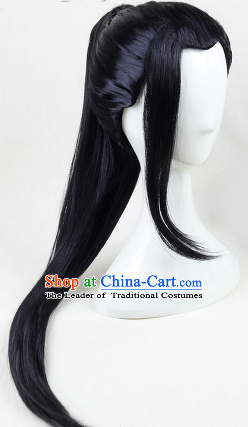 Ancient Chinese Asian Korean Japanese Black Long Wigs for Men