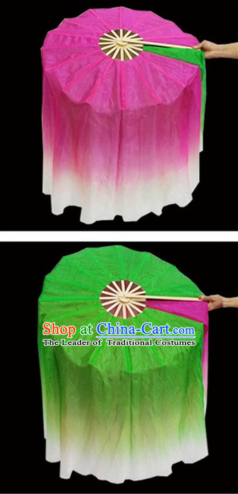 Two Colors Double Sides 360 Degree Pure Silk Dance Fan