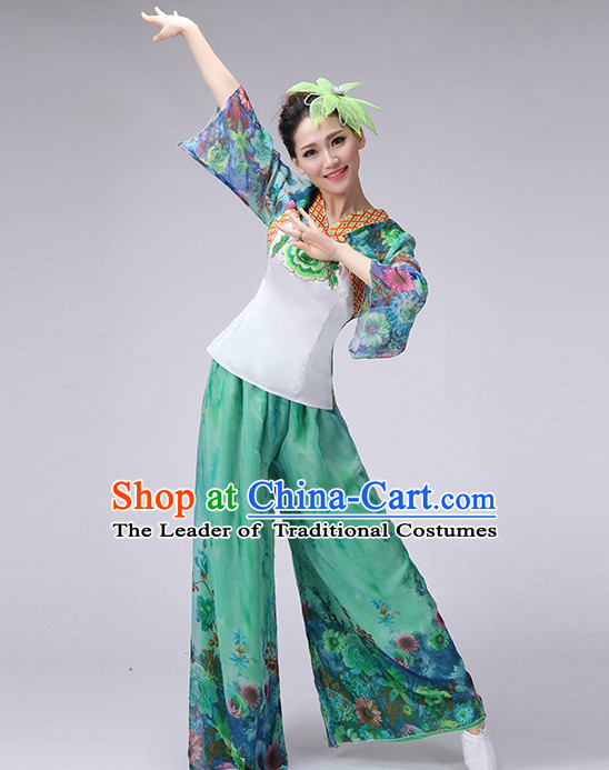 Asian Chinese Folk Dance Costume Fan Dancing Costume Uniform Outfits Stage Opening Dance Costumes Parade Competition Dancewear Complete Set