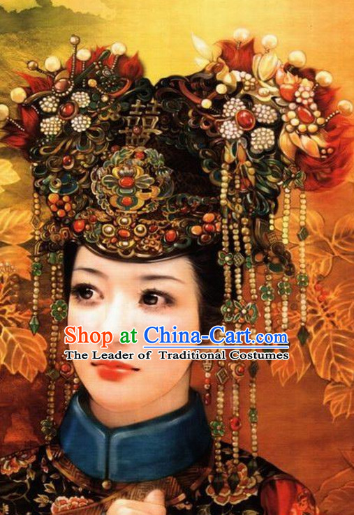Chinese Princess Wedding Hair Accessories Hair Jewelry Fascinators Headbands Hair Clips Bands Bridal Comb Pieces Barrettes