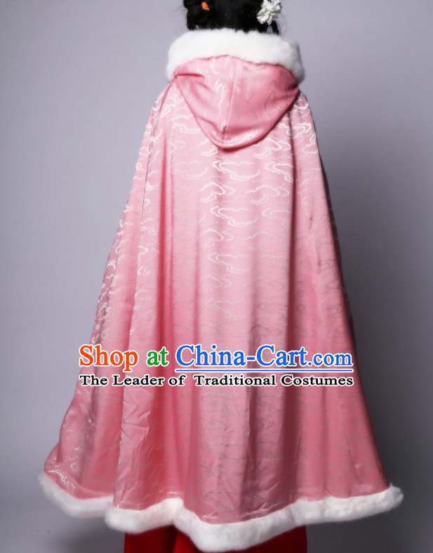 Chinese Classic Pink Winter Mantle Cape for Women