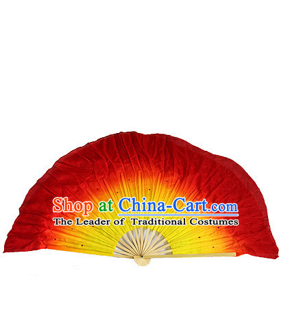 Red Yellow 16 Inches Pure Silk Color Change Chinese Dance Belly Dance Hand Fans Hand Fan Japanese Wedding Fans Oriental Fan