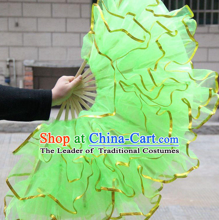 Light Green Chinese Korean Dancing Fan Dance Gauze Fans Belly Dance Hand Fans Hand Fan Japanese Wedding Fans Oriental Fan