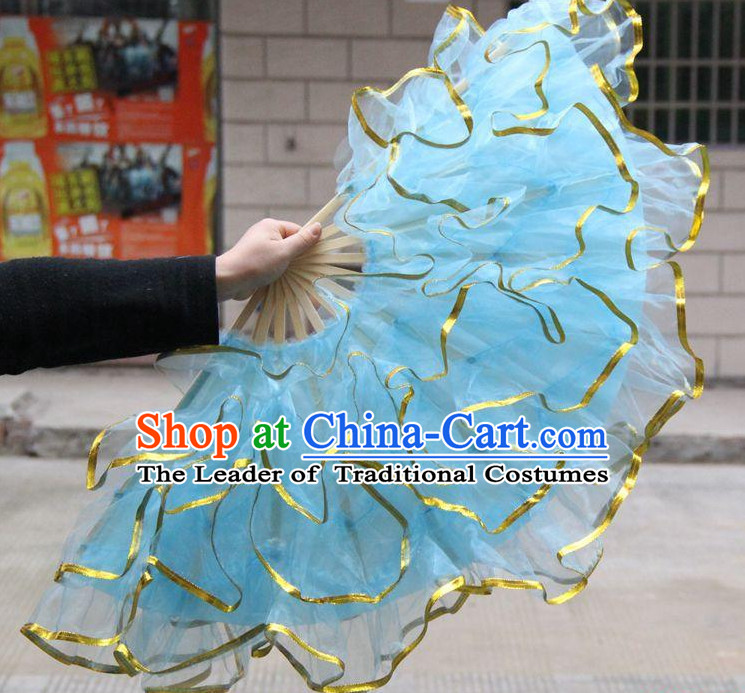 Light Blue Chinese Korean Dancing Fan Dance Gauze Fans Belly Dance Hand Fans Hand Fan Japanese Wedding Fans Oriental Fan