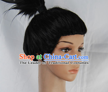 Ancient Japanese Korean Male Wigs Female Wigs Toupee Wig Hair Extensions Sisters Weave Cosplay Wigs Lace and Hair Jewelry for Men