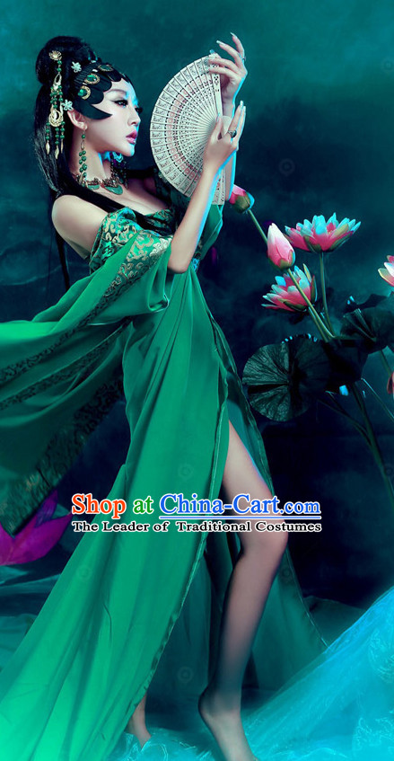 Chinese Ancient Legend Green Snake Wear Costume and Headwear Complete Set