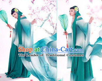 Chinese Ancient Legend Green Snake Wear Costumes and Headwear Complete Set