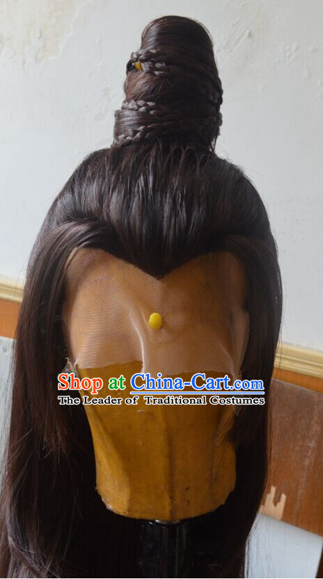 Ancient Chinese Japanese Korean Asian Long Wigs Cosplay Wig Hair Extensions Toupee Full Lace Front Weave Pieces for Men