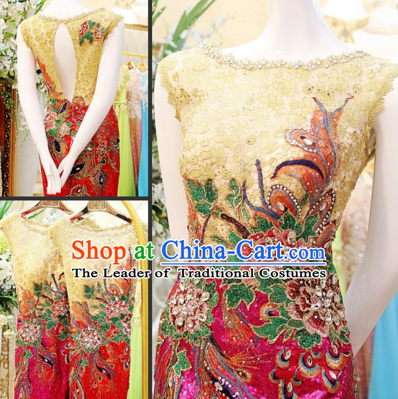 Amazing Chinese Sexy Boat Neck Wedding Evening Dress for Brides