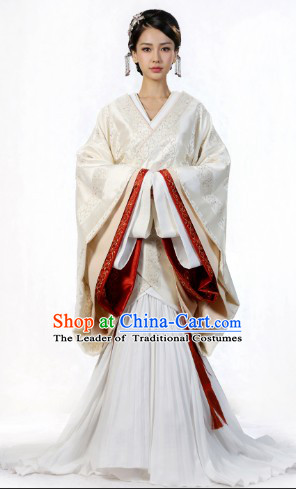 Ancient Chinese Han Dynasty Garment and Headwear Complete Set for Women