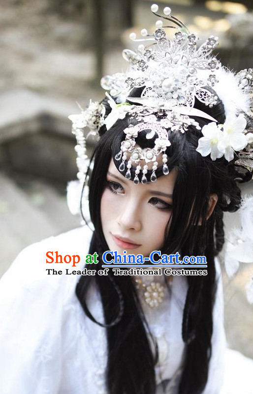 Chinese Empress Long Wig Hair Extensions Real Wigs Toupee Full Lace Front Wigs Weave Pieces for Women