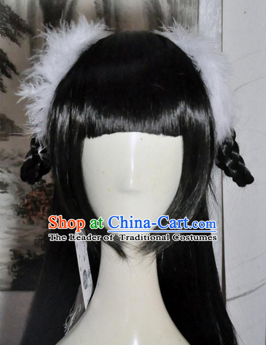 Chinese Fairy Long Wig Hair Extensions Real Wigs Toupee Full Lace Front Wigs Weave Pieces and Hair Jewelry for Women