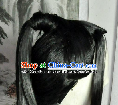 Chinese Fairy Long Wig Hair Extensions Real Wigs Toupee Full Lace Front Wigs Weave Pieces and Hair Jewelry for Men