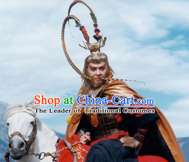 TVB Derek Kwok Monkey King Armor Costumes and Long Feather Headpieces Complete Set for Men