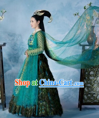 Ancient Chinese Peacock Feather Princess Costume and Hair Accessories Complete Set