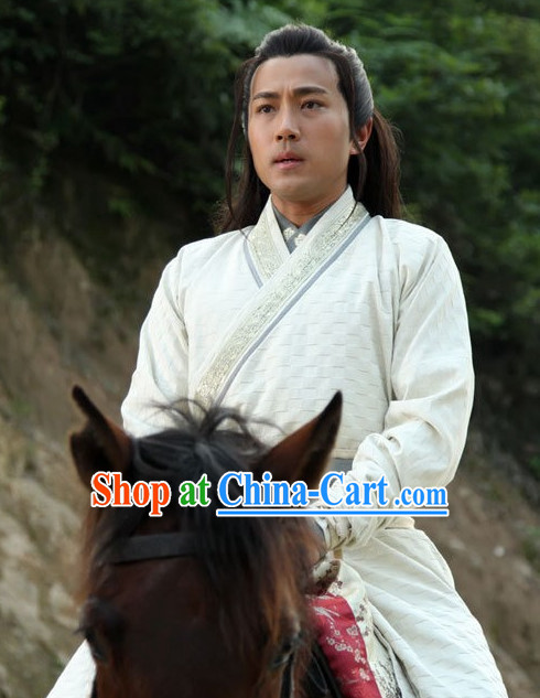 Traditional Chinese White Classical Hanfu Dress for Men