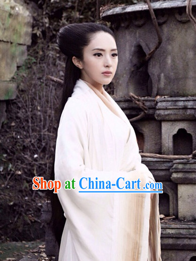 Ancient Chinese Pure White Hanfu Clothes for Women
