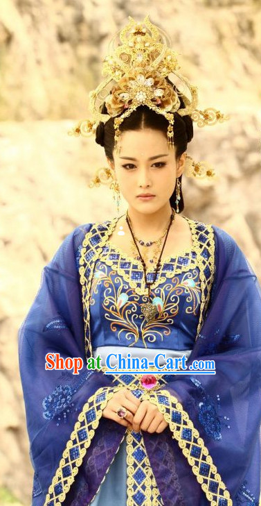 Chinese Empress Blue Robe and Hair Accessories Full Set