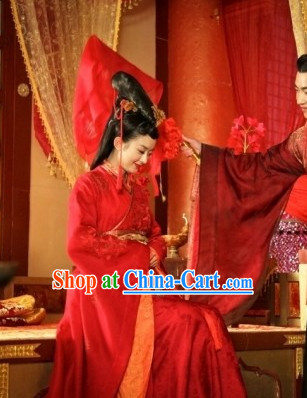 Red Chinese Wedding Brides Clothing and Hair Accessories Complete Set