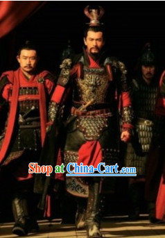 Chinese Ancient Hero Armor Costumes and Helmet Complete Set for Men