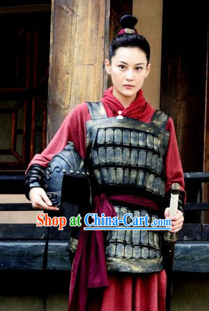 Chinese Costume Chinese Qin Dynasty Period Classic Red Female Superhero Armor Suit Costumes Complete Set for Men or Women