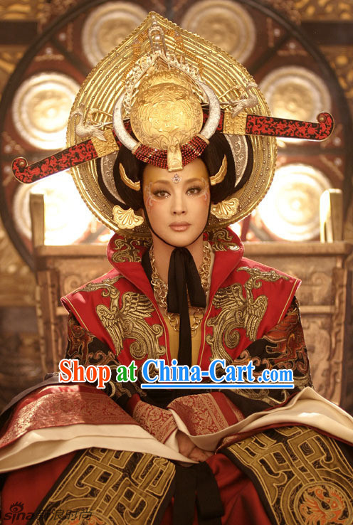 Chinese Classical Imperial Wu Ze Tian Hair Accessories and Black Wig