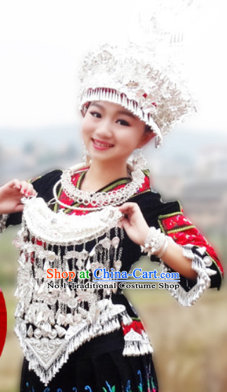 Traditional Silver Miao Tribe Hat and Necklace