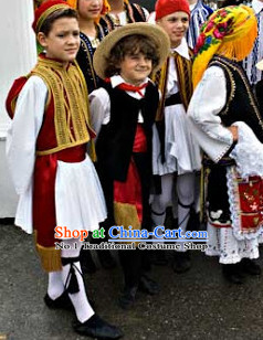Traditional Greek Clothes and Hat Complete Set for Boys
