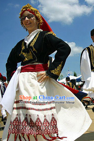 Traditional Greek Dancing Costume and Hat Complete Set for Women