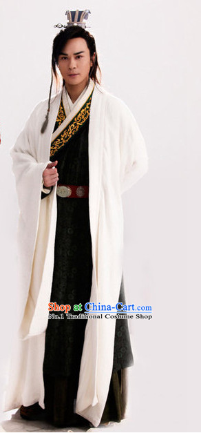 Asian China White Hanfu Dress Complete Set for Men