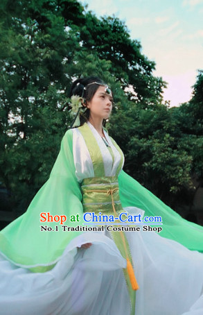 Green Wide Sleeve Classical Dancing Costumes and Hair Accessories Full Set for Women
