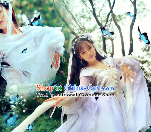 Asian Traditional White Princess Carnival Parade Costumes Complete Set