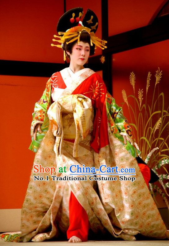 Japanese Classical Geisha Costume and Hair Accessories