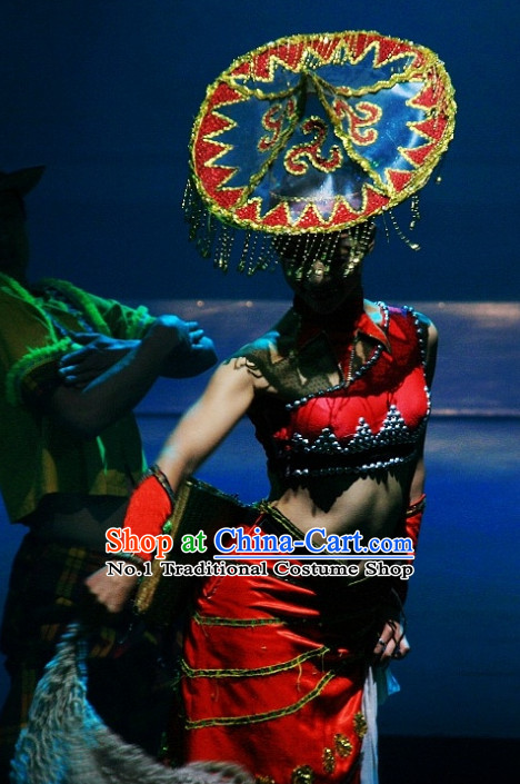 China Yunnan Province Lijiang Ethnic Minority Dai Dance Costume and Hat for Women