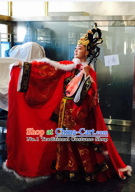 Wang Zhaojun China Beauty Traditional Chinese Red Costumes and Hair Accessory
