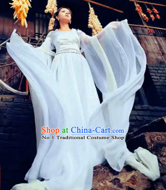 Pure White Wide Sleeves China Classical Dancing Costumes