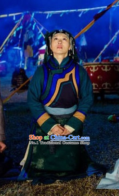 Traditional Mongolian Long Robe and Headwear for Girls