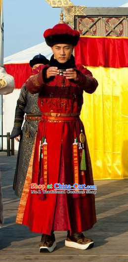 Qing Dynasty Emperor Long Robe Clothes and Hat Complete Set