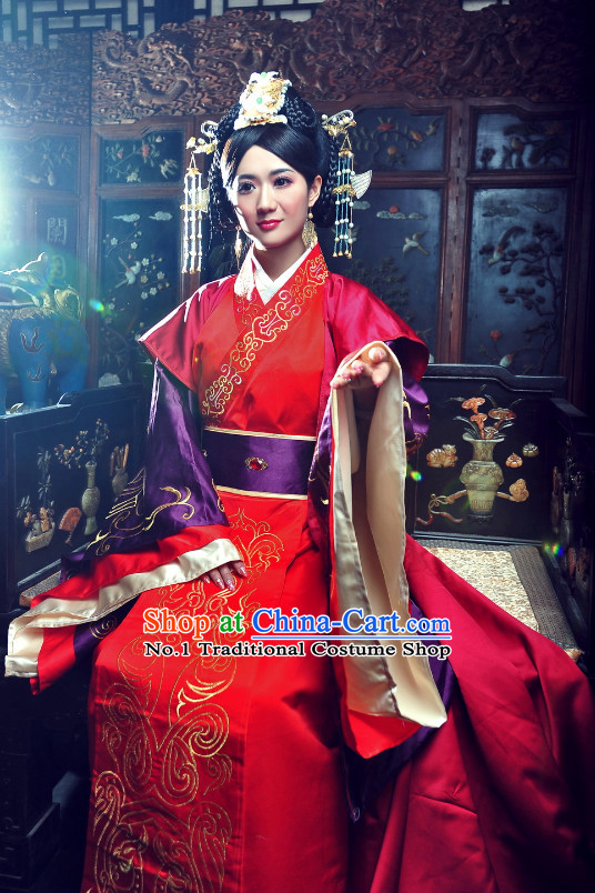 China Classical Wedding Dress and Hair Ornaments Complete Set