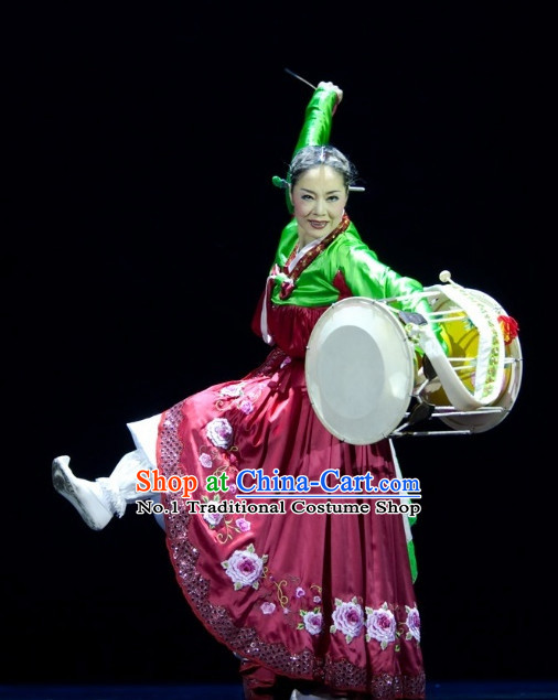 Korean Traditional Folk Drum Dance Costumes for Women