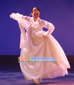 Pure White Korean Classical Dance Costumes for Women