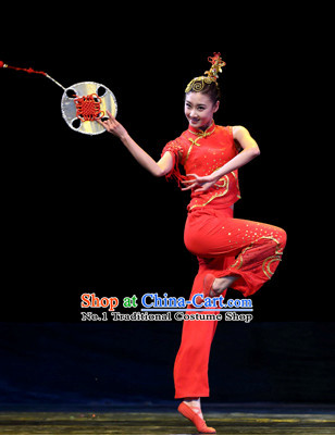 Chinese Classical Fan Dance Costumes for Girls
